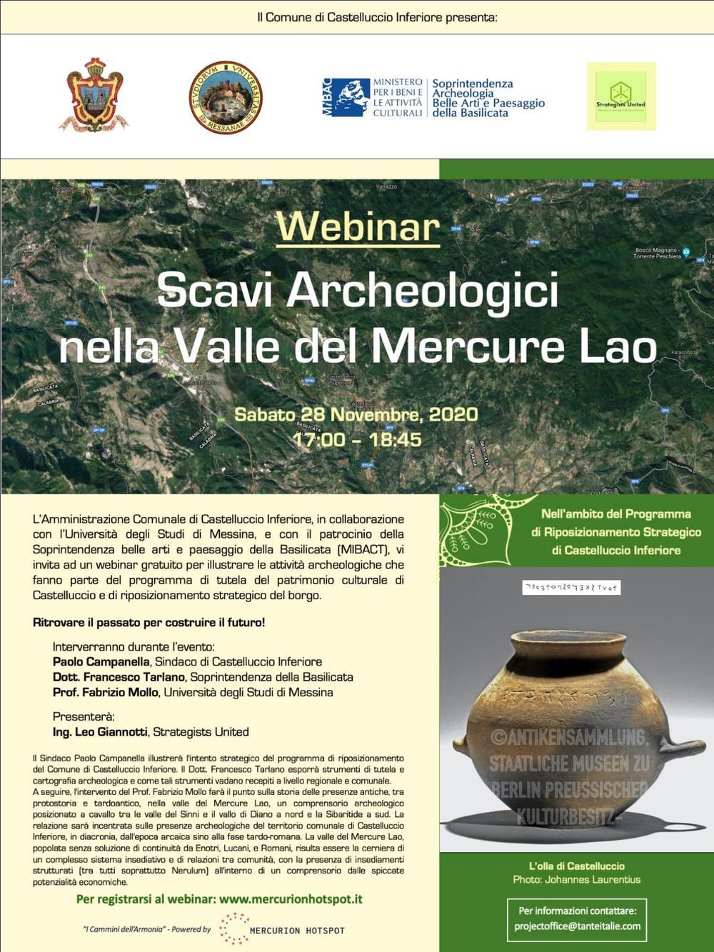 Webinar Scavi Archeologici nella Valle del Mercure Lao
